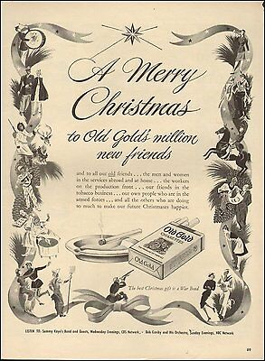 1943 Vintage ad Old Gold Cigarettes~Art WWII Christmas Tobacco (101016)