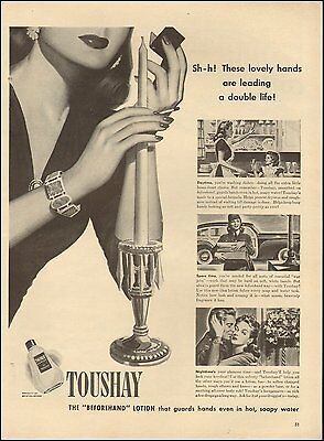 1943 Vintage ad Toushay Hand Lotion`Art Hands Bottle (101016)