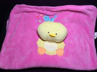 Blankets & Beyond Pink Chick Blue Bird Baby Security Blanket Lovey Yellow Soft