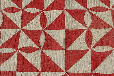 Antique Christmas Red White Quilt Piece Repurpose Stack