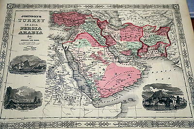 1864 Rare Johnson Beautiful Antique Atlas Map Of Turkey-Handcolored