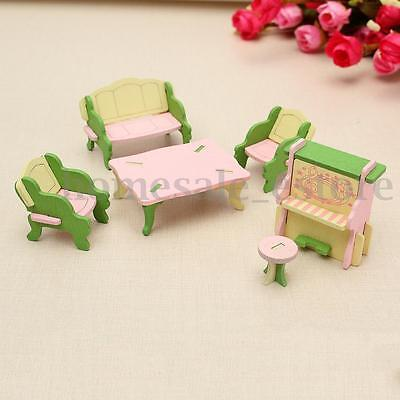 Retro Doll House Miniature Guest Room Wooden Furniture Set Kids Pretend Play Toy