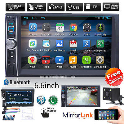 Double 2DIN Car In Dash Bluetooth Stereo Radio MP3 Player FM USB TF AUX + Camera