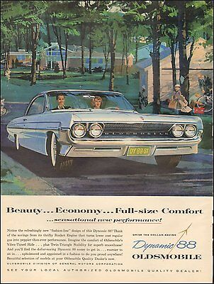 1961 Vintage ad Oldsmobile Dynamic 88 Photo Art Baby Blue(101016)