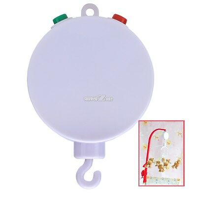 12 Melodies! White Baby Mobile Crib Bed Bell Kid Toy Windup Movement Music Box