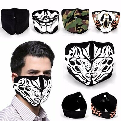 Reversible Neoprene Half Face Motorcycle Biker Skateboard Scary Skull Mask AU