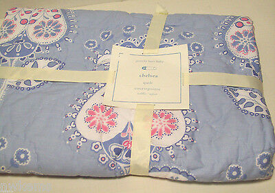 Pottery Barn Kids Blue Pink Multi Colors Chelsea Baby Toddler Crib Quilt New