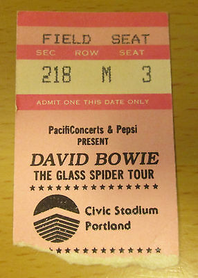 1987 David Bowie Portland Concert Ticket Stub The Glass Spider Tour Let's Dance