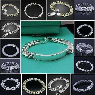 UK wholesale 925Sterling Silver Mens Silver Jewelry Gold Chain Bracelet Gift Box