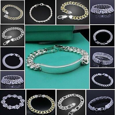 UK wholesale  Silver Mens Silver Jewelry Gold Chain Bracelet Gift Box