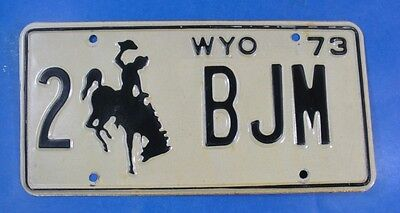 1973 Wyoming Personalized License Plate 2-Bjm                             Ul3978