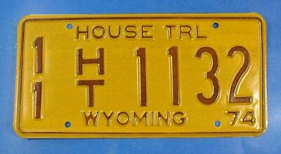 1974 Wyoming House Trailer License Plate 11Ht1132 With Issue Envelope     Ul3994