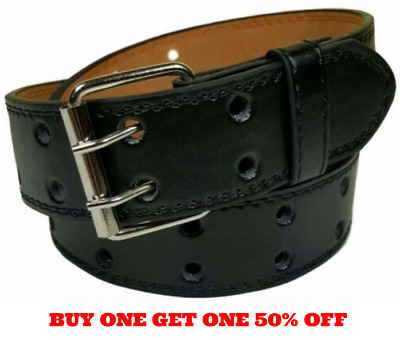 Men's Women's Genuine Leather Two Prong Double Row Holes Casual Plain Black Belt