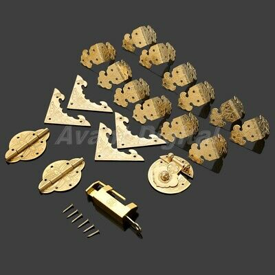 Chinese Brass Hardware Hinges Latch Jewelry Box Corners Protector with 102 Nails