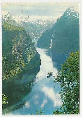 Postcard, Norway, Geirangerfjord towards The Pulpits, The Seven Sisters, 1967