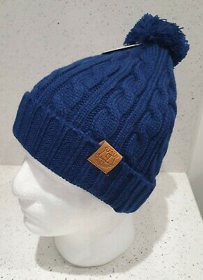 Official Everton Cable Bobble Hat - Navy - Great Gift Idea!