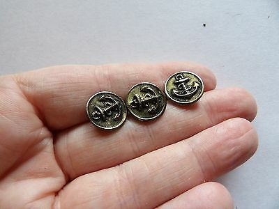 "Set 3 Tiny  Brass Anchor Naval / Military Style Buttons 1/2 "" 12Mm Z39"
