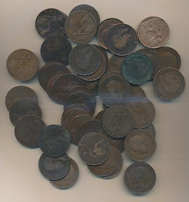 Great Britain - Large Penny 1912-1916 Lot Of 50 Coins