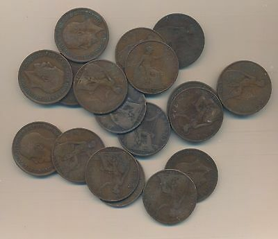 Great Britain - Large Penny 1916 Lot Of 18 Coins 100 Years Old!