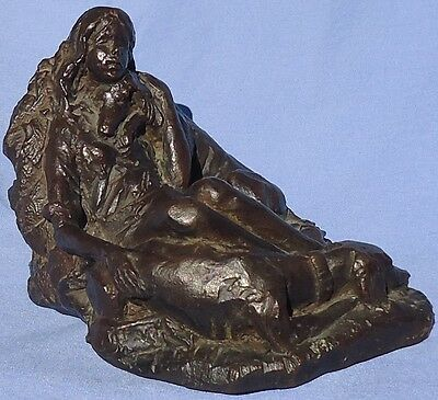 1972 Bronze Saluki Dogs W Girl Signed 6""