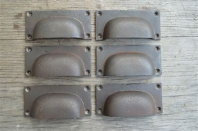 A set of 6 industrial cast iron drawer pull furniture handles chest draw AL12