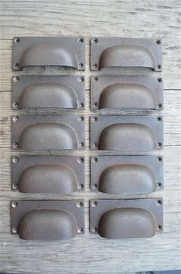 A set of 10 industrial cast iron drawer pull furniture handles chest AL12