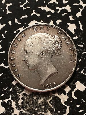 1845 Great Britain 1/2 Crown Lot#9710 Silver! Better Detail, Cleaned