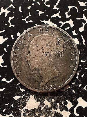 1880 Great Britain 1/2 Crown Lot#9711 Silver! Scratches
