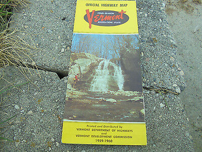 Vintage 1959-1960 Vermont Official Highway Map