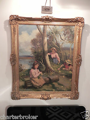 Large French Impressionist Framed Oil On Panel Of Young Girl Flower Pickers