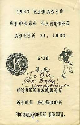 Woody Hayes Signed 1983 Banquet Program Jsa Certified Autograph