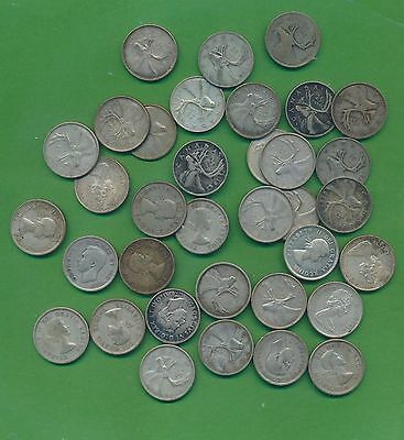 Canada Silver Quarters - All .800 Finess - 35 Mixed 1938 - Up- Near Melt!