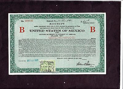 """United States of Mexico Receipt certificate """"B"""" 1927    VF"""