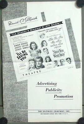 G5667 since you went away / I'll be seeing you SHIRLEY TEMPLE US PRESSBOOK