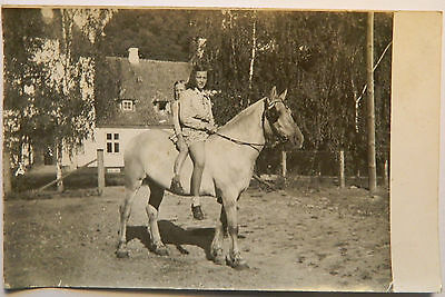 Vintage real photo postcard young teen girls on horse bag c. 1920