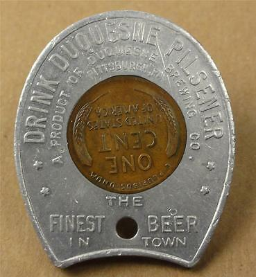 Encased Coin Pittsburgh PA. DUQUESNE PILSENER BEER 1949-D Wheat Cent ME715
