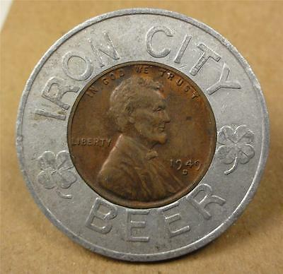Encased Coin IRON CITY BEER 1949-D Wheat Cent ME625