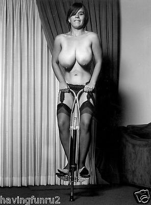 1960s Suzanne Pritchard  on a Pogo stick huge breasts 8 x 10 Photograph