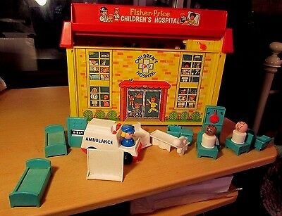 Vintage 1970's Fisher Price Play Family Children's Hospital & 15 Accessories