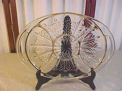 Beautiful Vintage Solid Glass Double Handled Divided Serving Platter