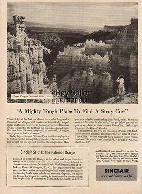 1955 Bryce Canyon National Park Utah Sinclair Oil Vintage 50s Photo Ad MMXV