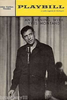 """An Evening with YVES MONTAND"" Bob Castella / Bob Creash 1961 Broadway Playbill"