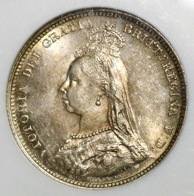 1887 NGC MS 64 Silver Shilling Victoria GREAT BRITAIN Coin (16062601D)