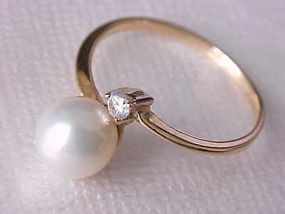 7.5Mm Aaa Genuine Silver White Saltwater Pearl Ring Solid 18K Gold