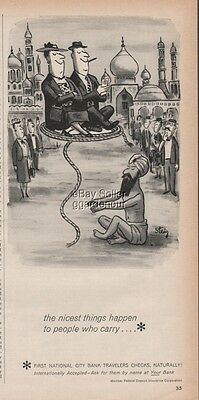 1962 Snake Rope Charmer Trick India First National City Bank Steig Cartoon Ad