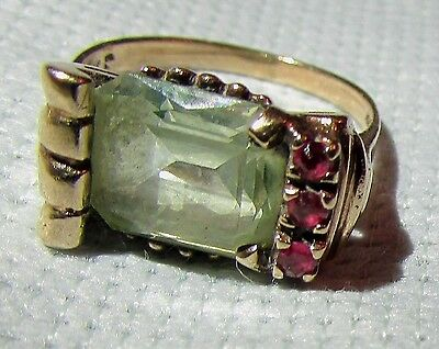 Antique 10K Gold Ring Size 4.25 Stunning Art Deco Asymmetrical 4 Faceted Stones