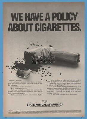 1969 State Mutual of America Insurance Worcester MA Policy about cigarettes ad