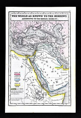 1854 Biblical Map - Ancient World of Hebrews Japheth Ham Shem Eber - Middle East