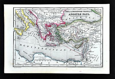 1854 Biblical Map - Travels of Apostle Paul - Mediterranean Greece Italy Israel