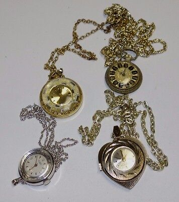 4 Vintage Necklace Watches All Running